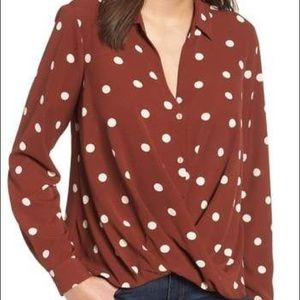 all in favor // polka dot twist front top